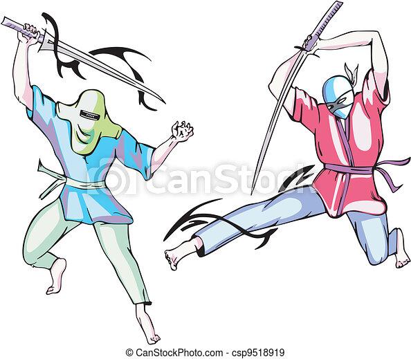 Ninjas. Vector set - csp9518919