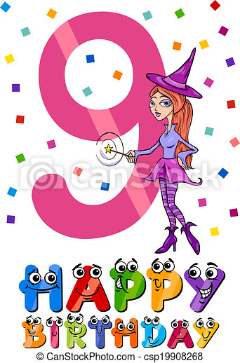 ninth birthday cartoon design - csp19908268