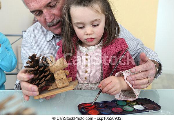 nipote, pittura, nonno - csp10520933
