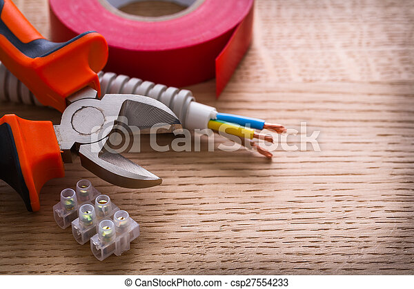 nippers insulating tape and terminal blocks for electric cables - csp27554233