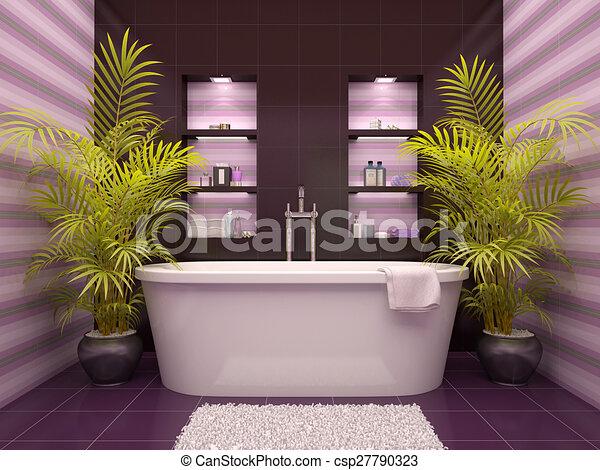 Nischen, badezimmer, wand, abbildung, inneneinrichtung, 3d.