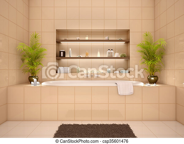Nischen, Badezimmer, Wand, Abbildung, Warme Töne, Inneneinrichtung, 3d  Stock Illustration