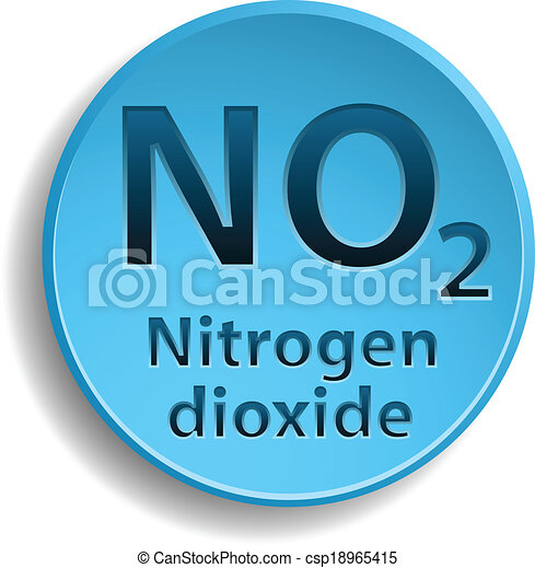 Nitrogen Dioxide Blue Button With Nitrogen Dioxide Eps10