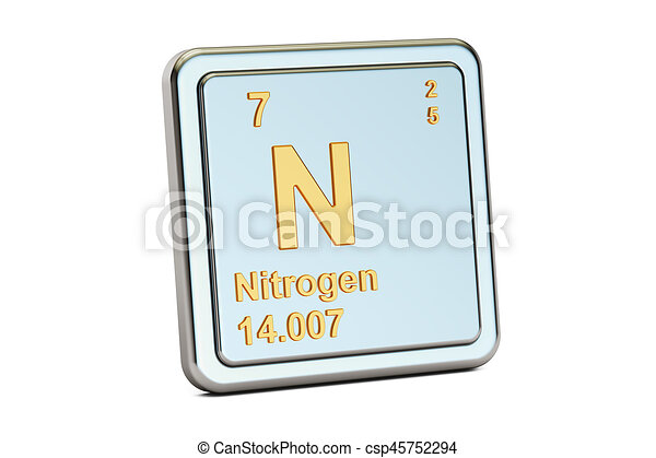 Nitrogen N Chemical Element Sign 3d Rendering Isolated On Stock