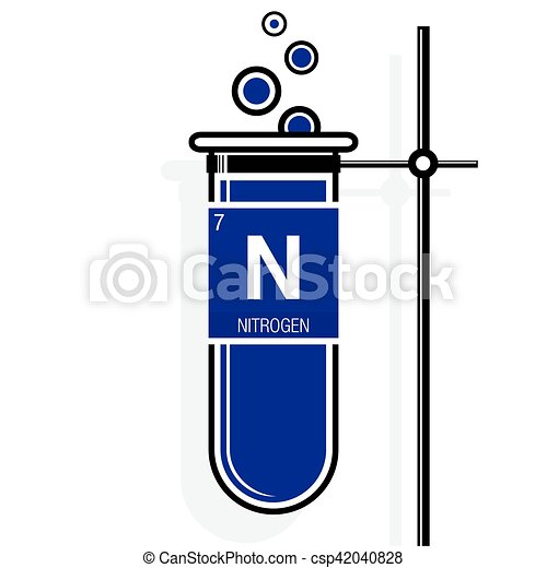 Nitrogen symbol on label in a violet test tube with holder element periodic table vector nitrogen symbol on label in a violet test tube with holder element number 7 of urtaz Images