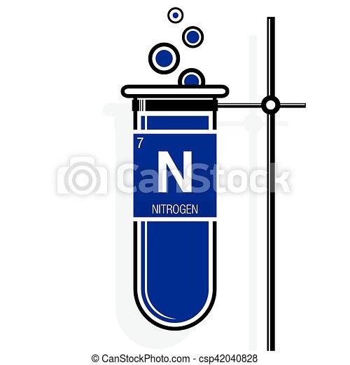Nitrogen symbol on label in a violet test tube with holder nitrogen symbol on label in a violet test tube with holder element number 7 of urtaz Choice Image