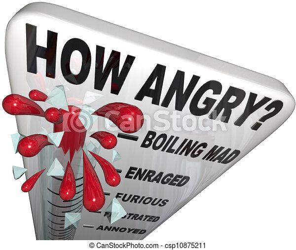 Qué furioso el termómetro mide el nivel de ira del hombre frustrado - csp10875211