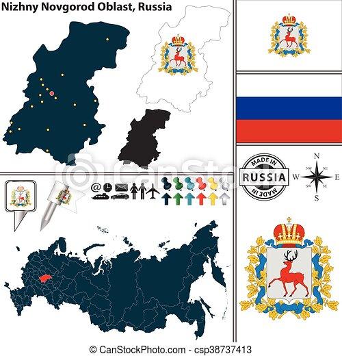 Novgorod Russia Map.Nizhny Novgorod Oblast Russia Vector Map Of Nizhny Novgorod Oblast