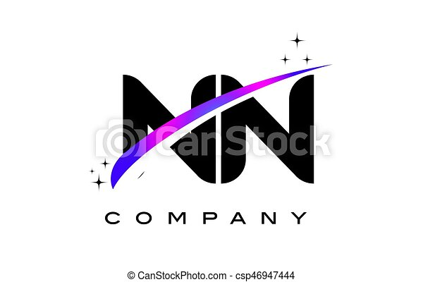Nn N Black Letter Logo Design With Purple Magenta Swoosh And Stars