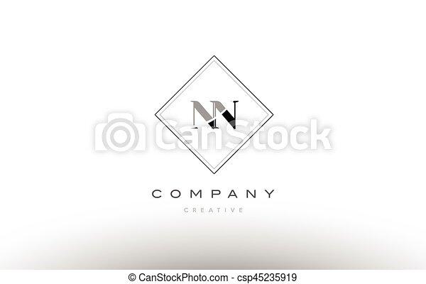 Nn N Retro Vintage Black White Alphabet Letter Logo Nn N Retro