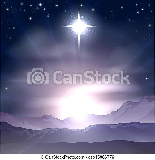 noël, bethlehem, nativit, étoile - csp15866779