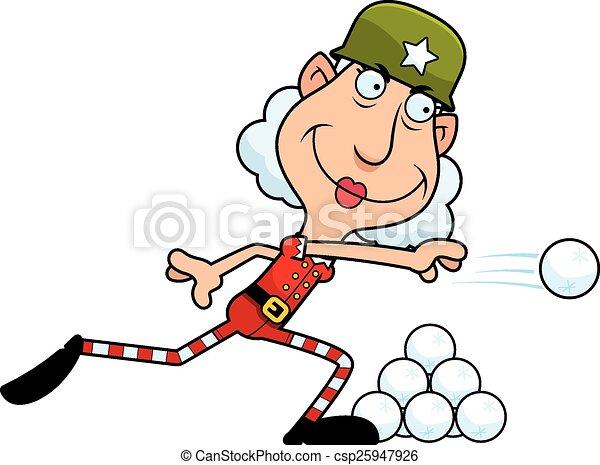 noël, boule de neige, elfe, dessin animé, baston - csp25947926