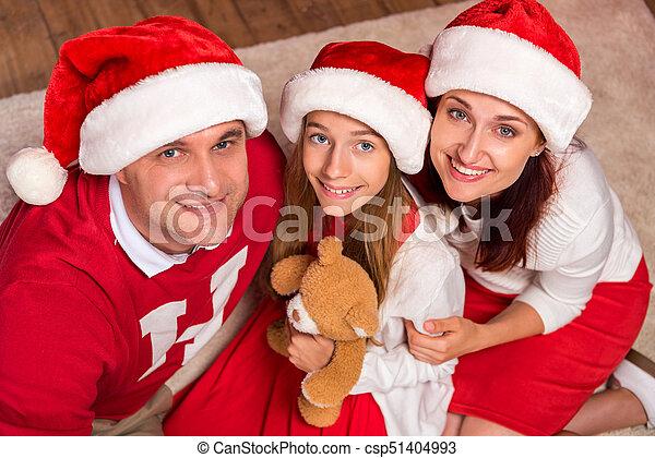 noël célébrant, famille, heureux - csp51404993