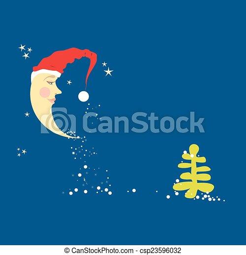 Noel Chapeau Croissant De Lune Verser Flocons Neige Arbre Il
