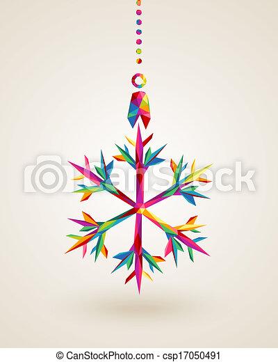 noël, flocon de neige, multicolors, joyeux, pendre, babiole - csp17050491