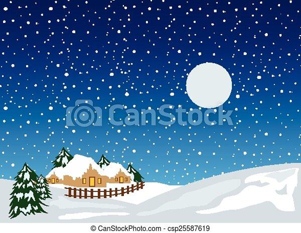 noël, fond, neige - csp25587619
