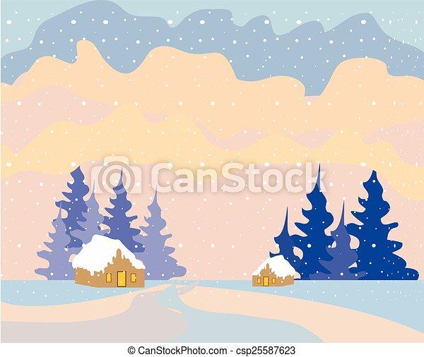 noël, fond, neige - csp25587623