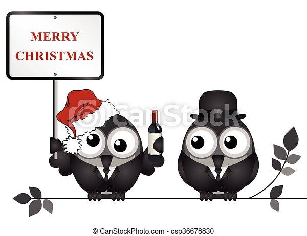 Noël joyeux ivre reveller bureau isolé signe joyeux oiseau