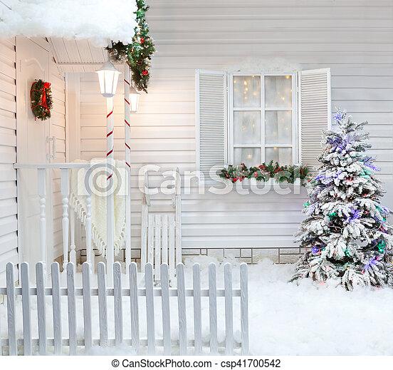 No l neige couvert hiver ext rieur bois vendange for Decoration exterieur hiver