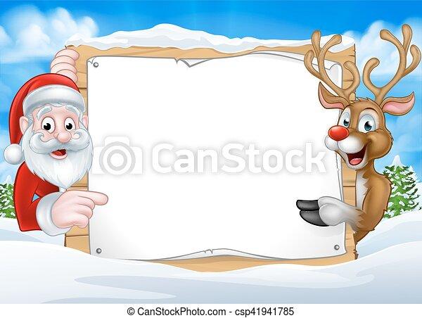 noël, renne, fond, santa, signe - csp41941785