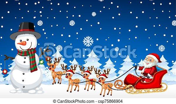 noël, santa, scène, bonhomme de neige, nuit - csp75866904