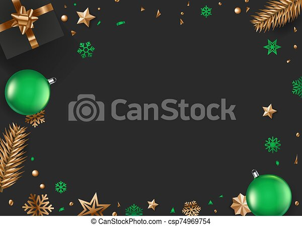 noël, vert, accessoires, or, fond, vecteur - csp74969754