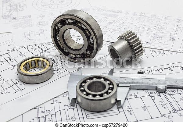 nośny, gear., suwmiarka, mechaniczny, mały, układ - csp57279420