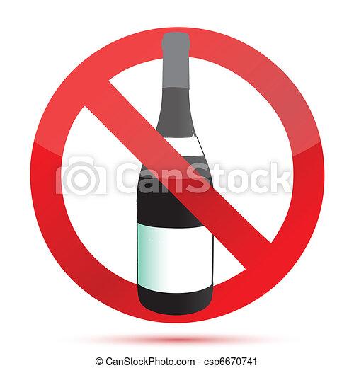 No alcohol sign illustration design - csp6670741