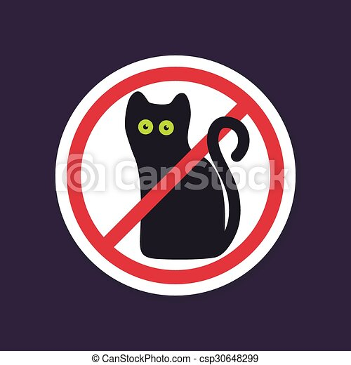 No Ban Or Stop Signs Halloween Black Cat Icon Prohibition