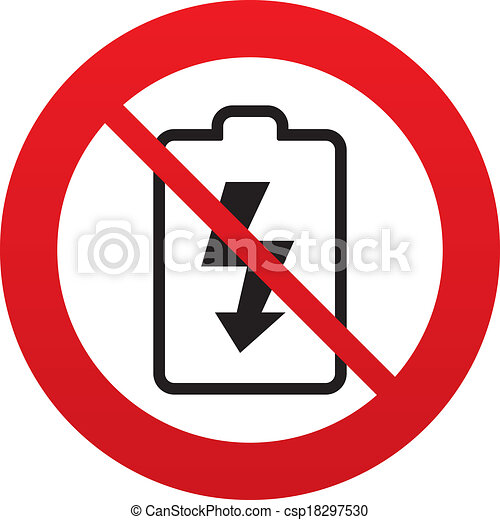 No Battery Charging Sign Icon Lightning Symbol Red Prohibition