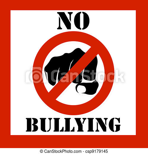 no bullying sign illustration stop bullying warning sign stock rh canstockphoto com Pictures About Bullying Pictures About Bullying