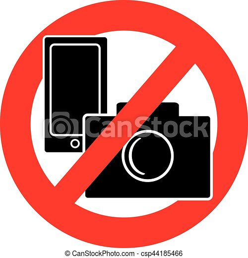 No camera and mobile phone symbol on white background - csp44185466