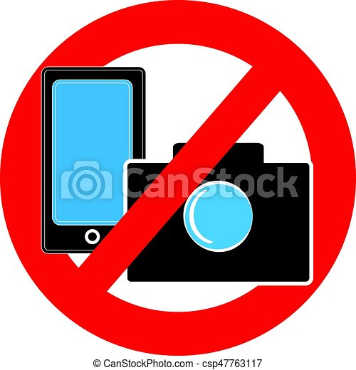 No Camera And Mobile Phone Symbol On White Background Vector
