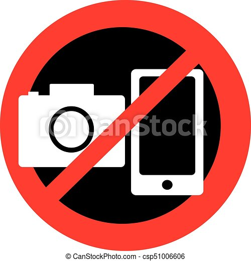 No Camera And Mobile Symbol Isolated On White Background No Camera