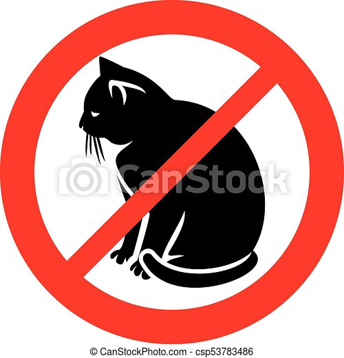 no cats sign (prohibition icon, not allowed symbol) - csp53783486