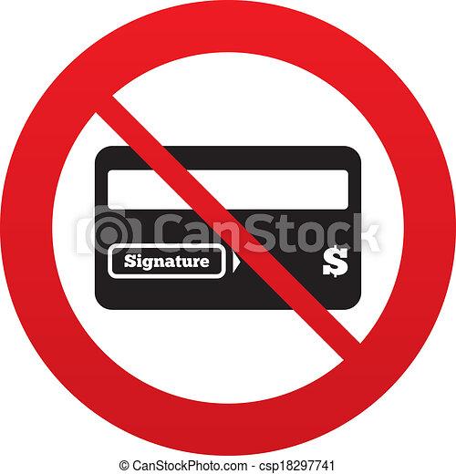 No Credit Card Sign Icon Debit Card Symbol Virtual Money Red