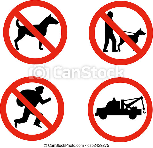 No Dogsburglars And Towing Sign Illustration Of Road Signs Showing