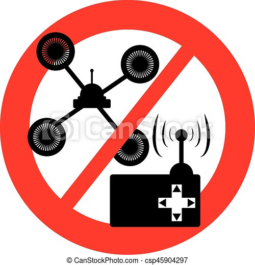 No Drone Symbol With Control On White Backgroundon Background Vector