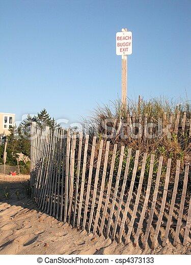 No Dune Buggy Sign along Dunes - csp4373133