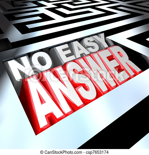 No Easy Answer Words in 3D Maze Problem to Solve Overcome - csp7653174