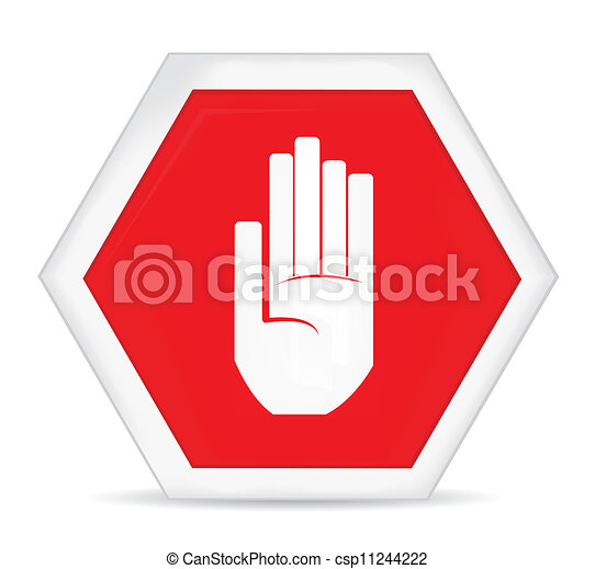 No entry stop hand sign.