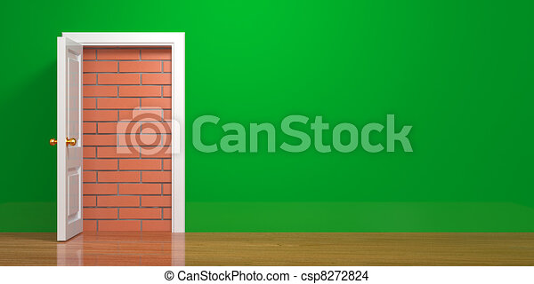 No escape and entrance. Doors laid bricks - csp8272824