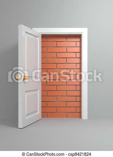 No escape and entrance. Doors laid bricks - csp8421824