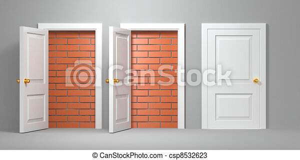 No escape and entrance. Doors laid bricks - csp8532623