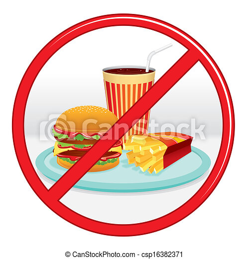 No Fast Food. Prohibition Sign. Vector Label. - csp16382371
