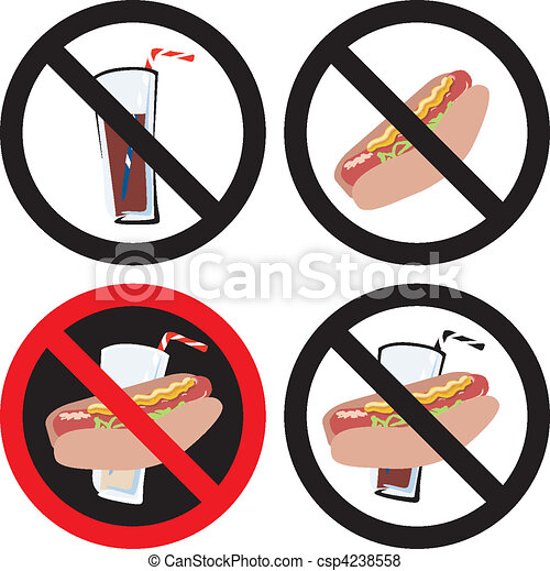 vector illustration of four no food or drink signs see my vector rh canstockphoto com no food or drink clip art on bus no food or drinks clipart