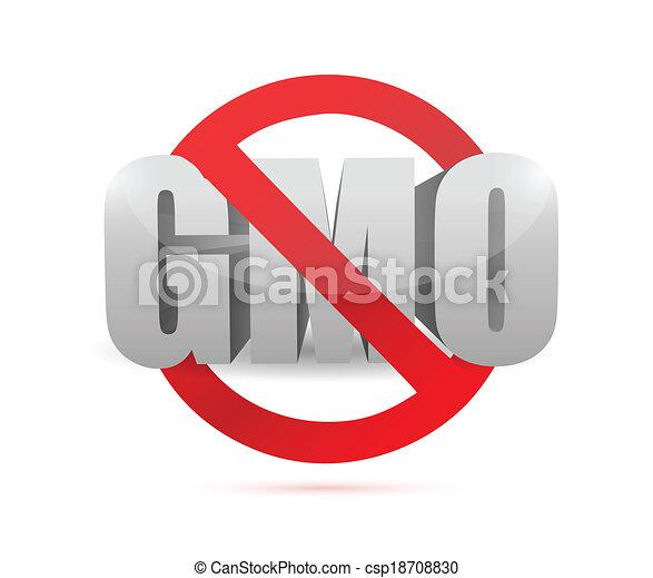no gmo sign illustration design - csp18708830