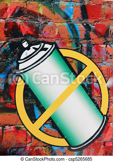 photo of a no graffitti sign a circle with a bar in the middle and
