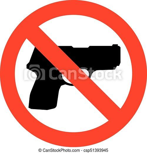 No Gun Sign Isolated Illustration No Gun Sign No Weapon Symbol