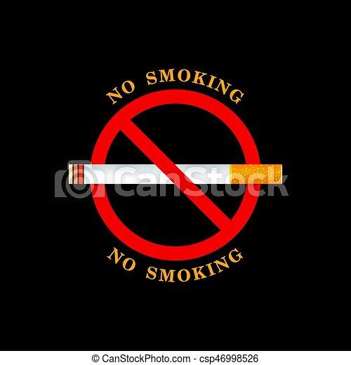 No se puede fumar ilustraciones de signos en el fondo negro - csp46998526